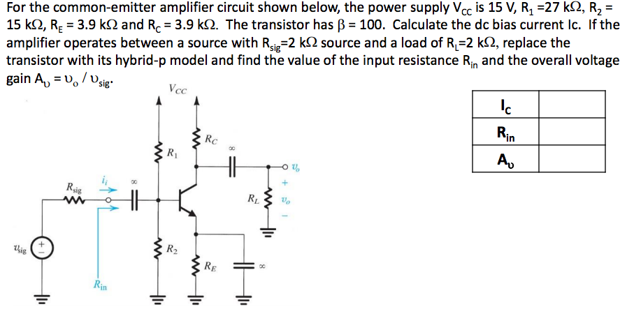 Solved for the common emitter amplifier circuit shown bel for the common emitter amplifier circuit shown below the power supply vcc is 15 ccuart Image collections