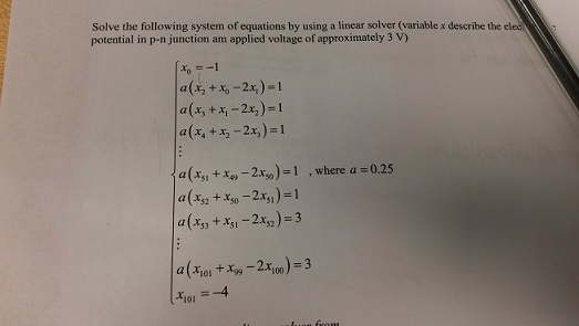 Solve the following system or equations by using a