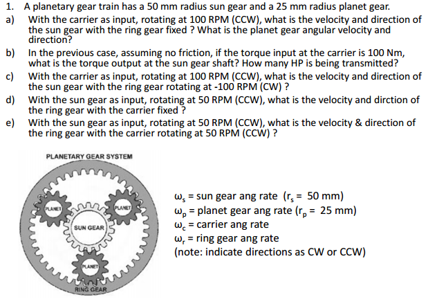 Planetary Gear Set >> Mechanical Engineering Archive | November 28, 2015 | Chegg.com