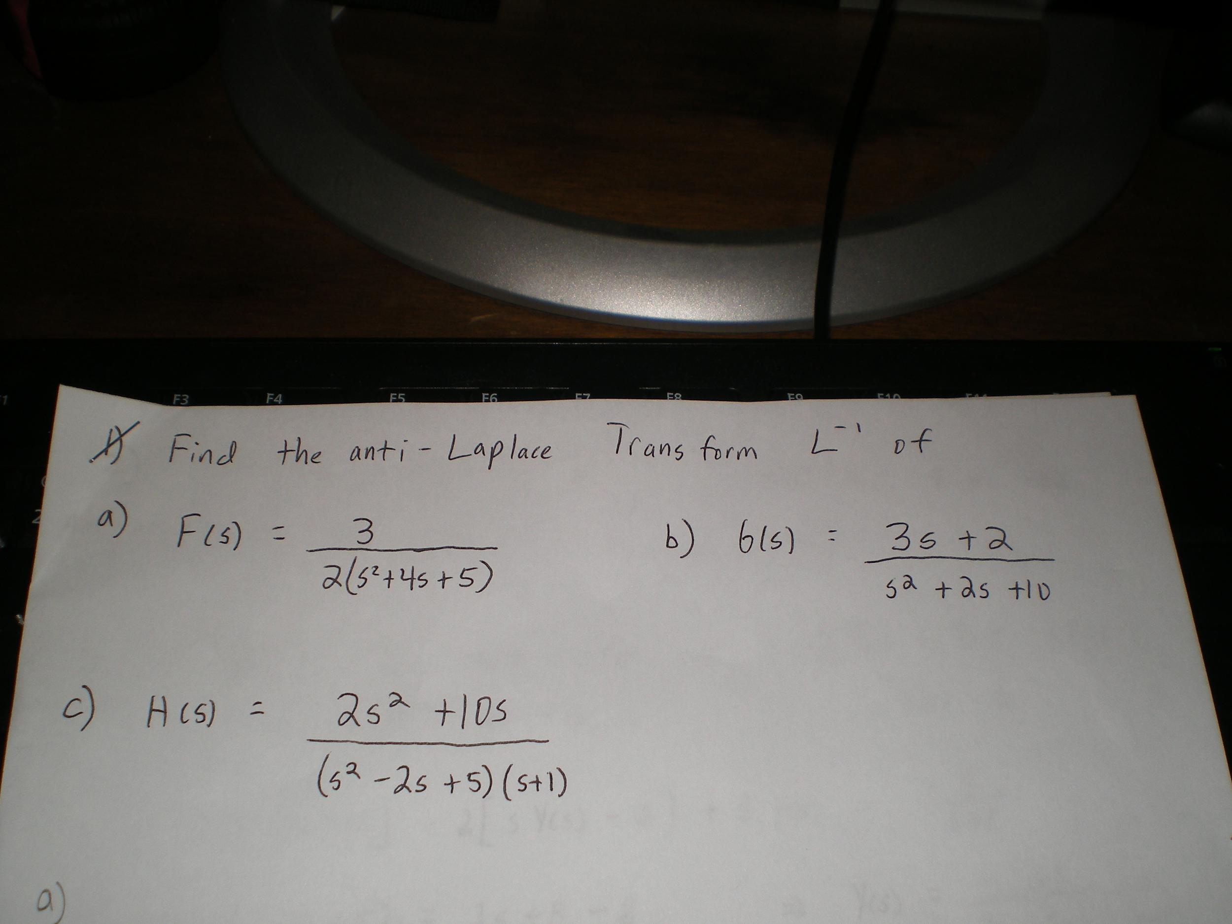 Find the anti - Laplace Transform L-1 of F(s) = 3