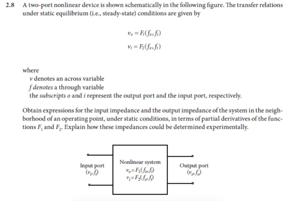 Solved: Atwo-port Nonlinear Device Is Shown Schematically ... on