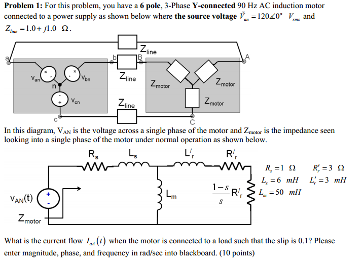For this problem, you have a 6 pole, 3-Phase Y-con