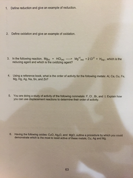 Solved: 1. Define Reduction And Give An Example Of Reducti ...