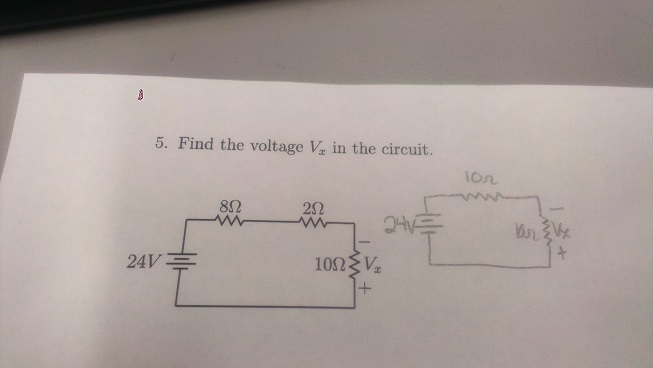 Find the voltage Vx in the circuit.