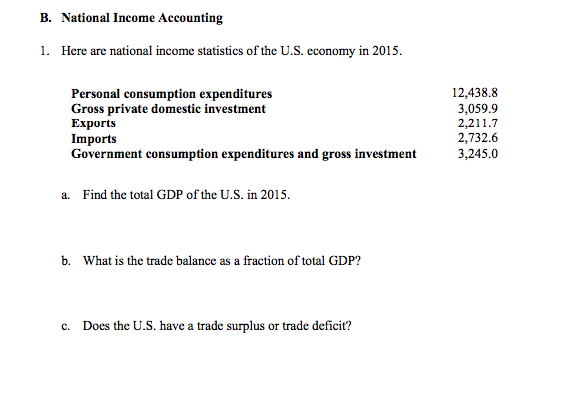 Question: National Income Accounting  Here are national income statistics of the U.S. economy in 2015.  a. ...