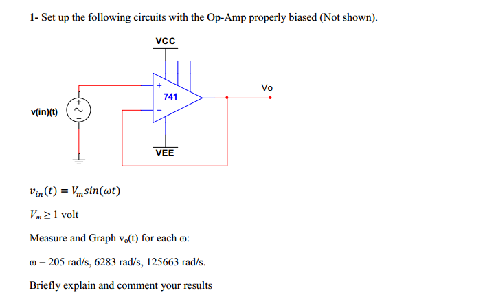 Set up the following circuits with the Op-Amp prop
