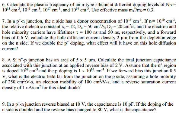 Calculate the plasma frequency of an n-type silico