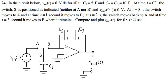 In the circuit below, Vjn(t) = 6 V dc for all t, C