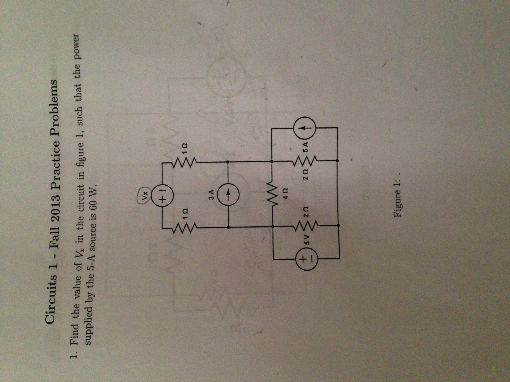 Find the value of Vx in the circuit in figure 1, s