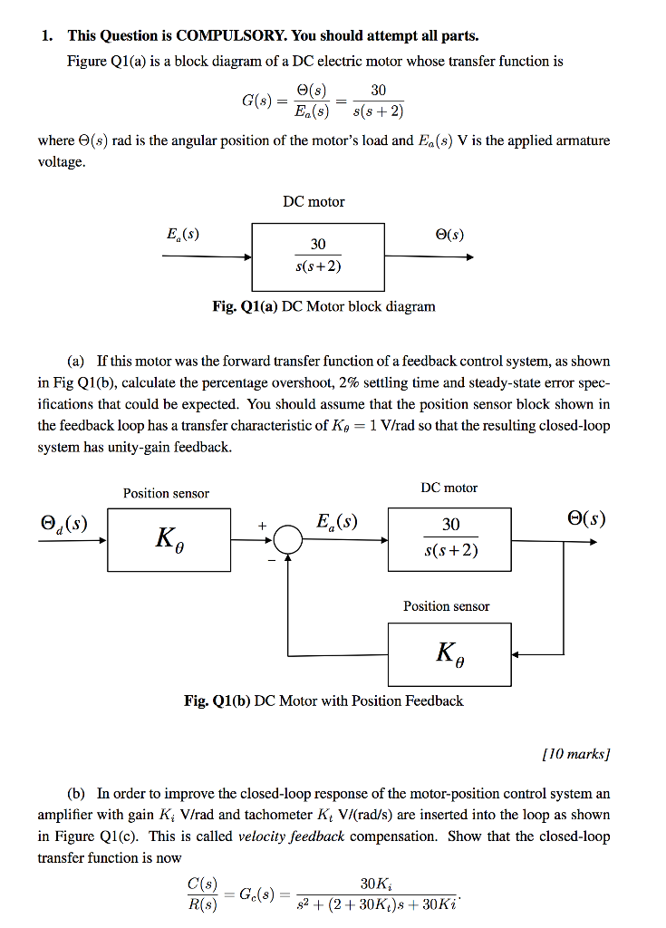 Solved: Figure Q1 (a) Is A Block Diagram Of A DC Electric ...