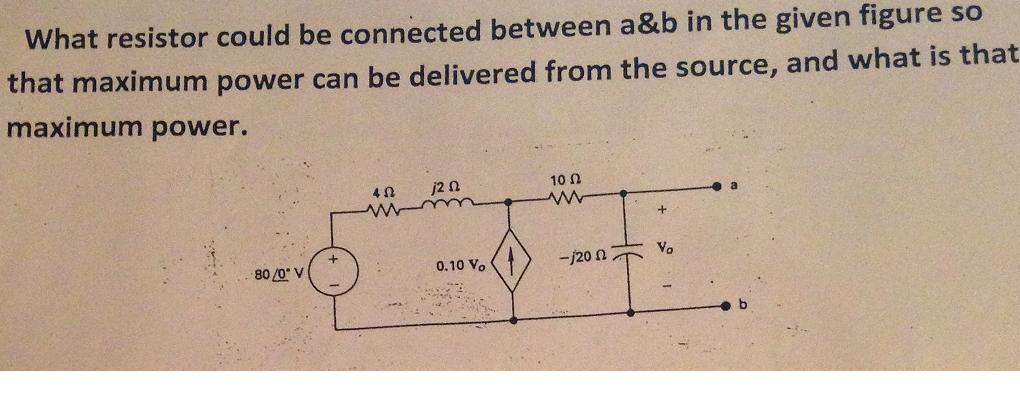 What resistor could be connected between a&b in th