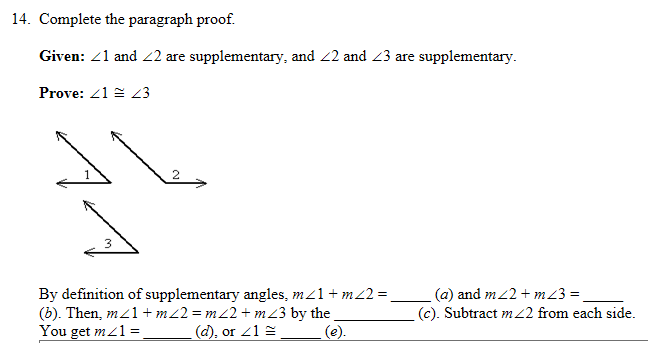 Complete The Paragraph Proof. Given: 1 And 2 Are S... | Chegg.com
