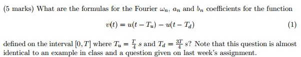 What are the formulas for the Fourier wn, an and b