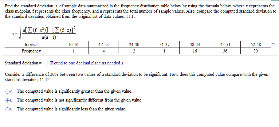 Find the standard deviation s of sample data sum chegg please show work ccuart Choice Image