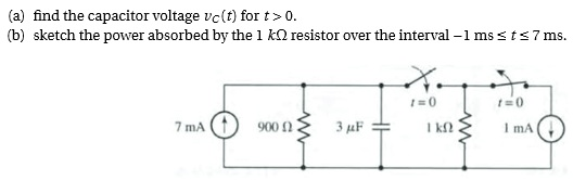 find the capacitor voltage vc(t) for t> 0. sketch