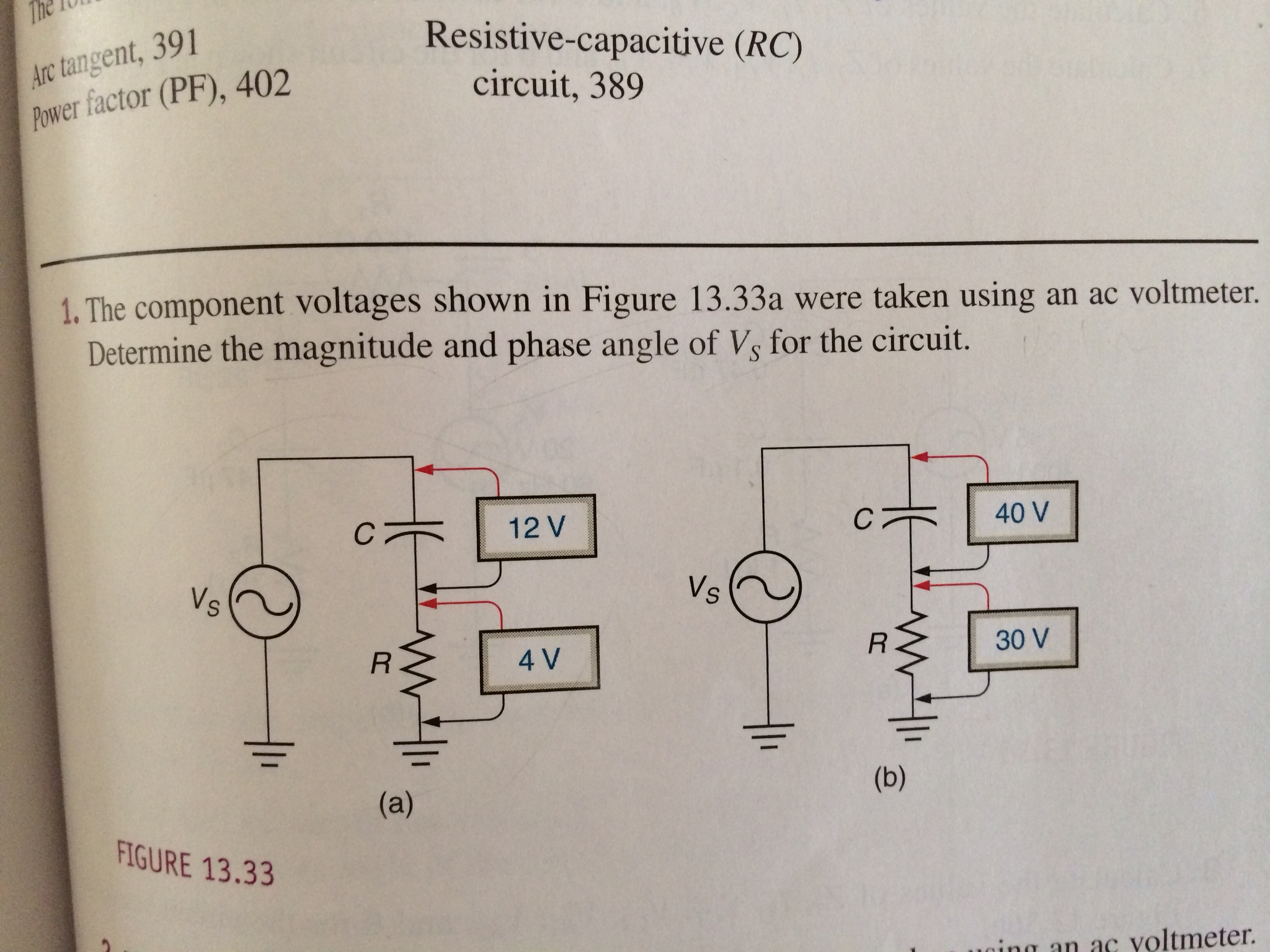The component voltages shown in Figure 13.33a were
