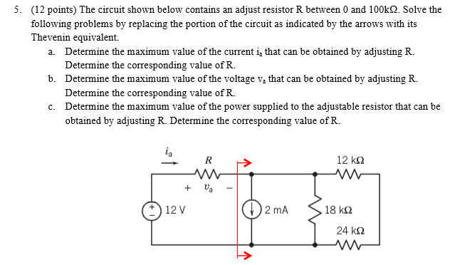 The circuit shown below contains an adjust resisto