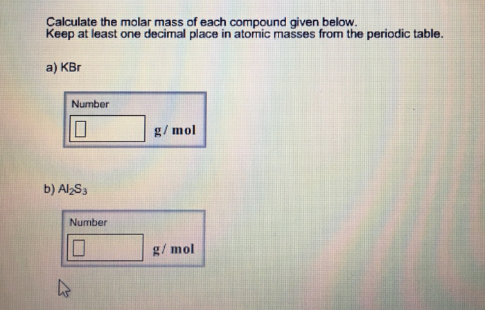 Solved calculate the molar mass of each compound given be calculate the molar mass of each compound given be urtaz Images