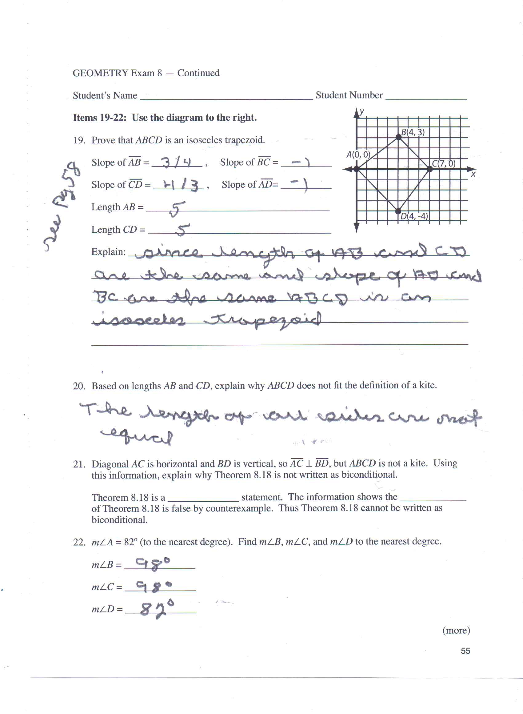 Solved geometry exam 8 continued students name student geometry exam 8 continued students name student ccuart Images