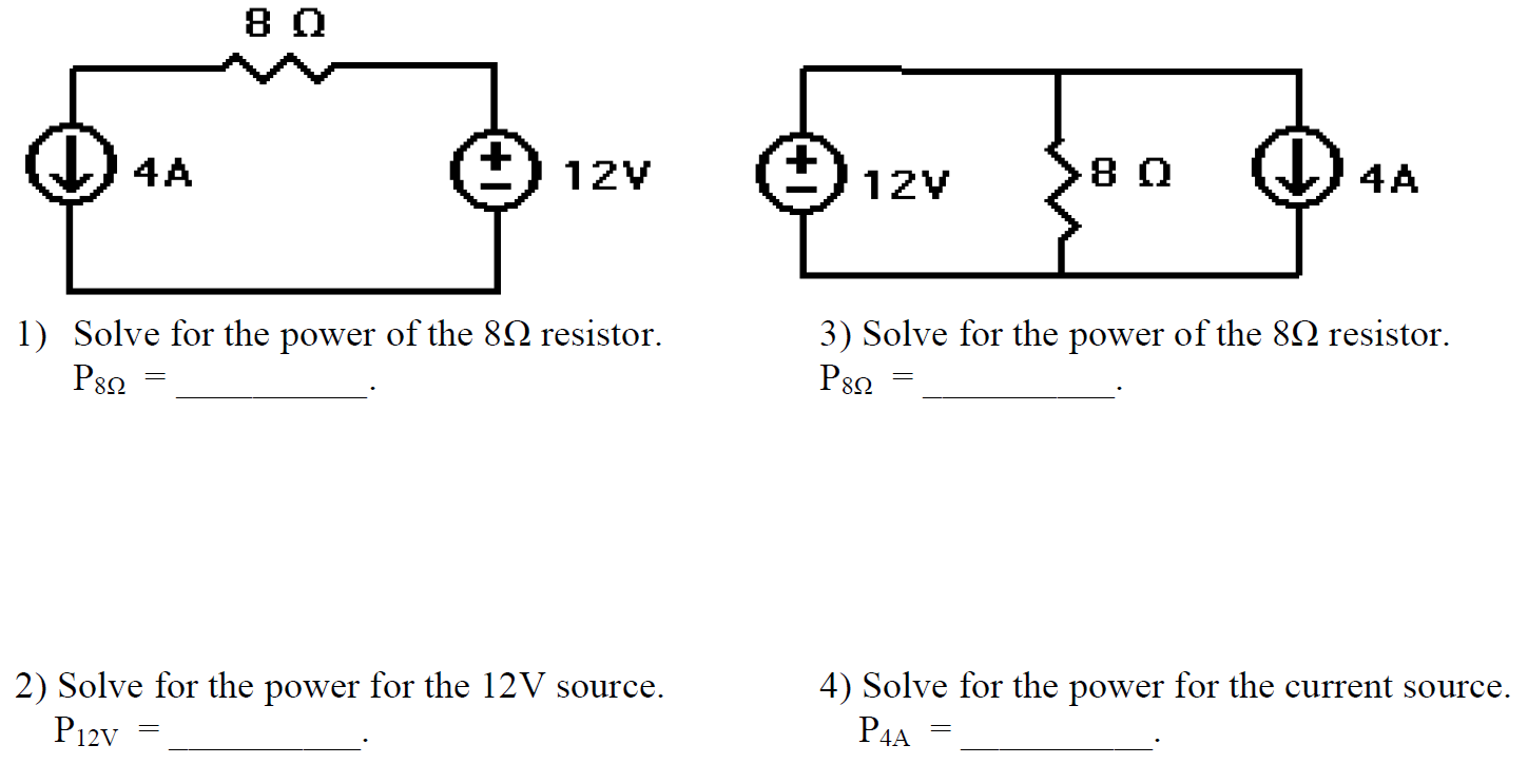 Solve for the power of the 8Ohm resistor. P8Ohm =