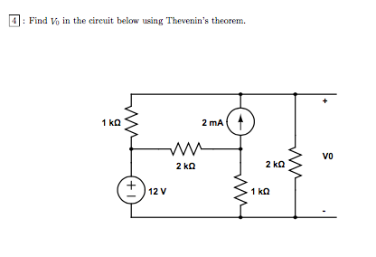 Find V0 in the circuit below using Thevenin's theo