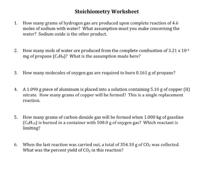 How Many Grams Of Hydrogen Gas Are Produced Upon C – Stoichiometry Worksheet Answers
