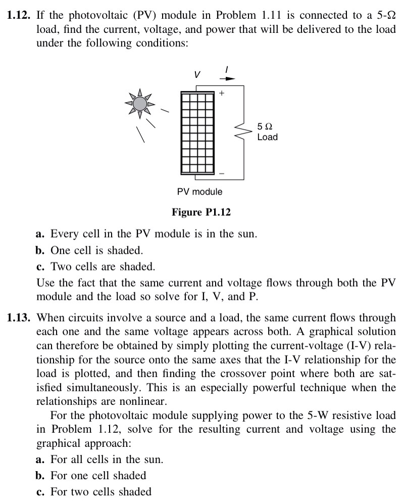 If the photovoltaic (PV) module in Problem 1.11 is