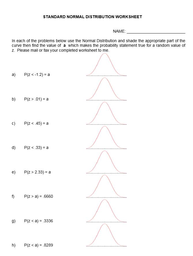 Solved: STANDARD NORMAL DISTRIBUTION WORKSHEET NAME: In Ea ...