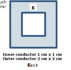 Inner conductor 1 cm times 1 cm Outer conductor 2