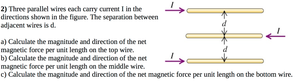 Solved three parallel wires each carry current i in the d 2 three parallel wires each carry current i in the directions shown in the figure greentooth Gallery
