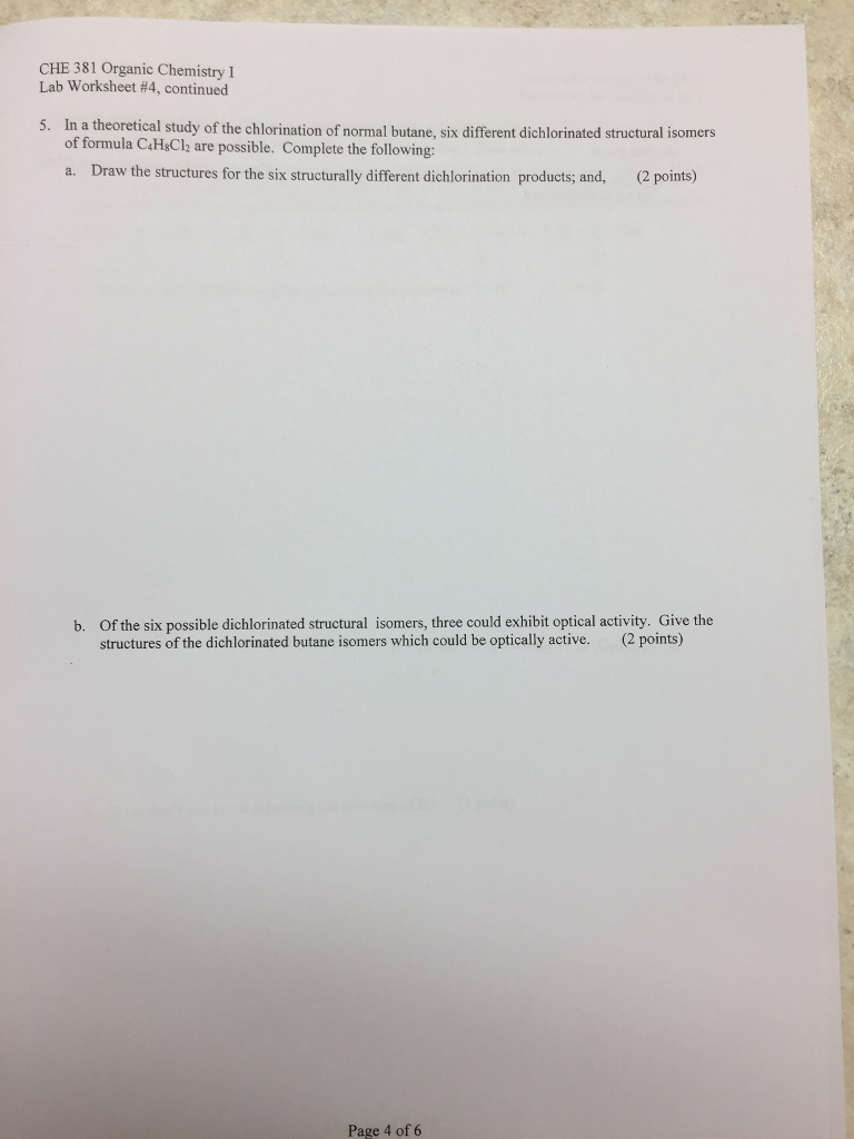 Solved Che 381 Organic Chemistry Lab Worksheet 4 Contin