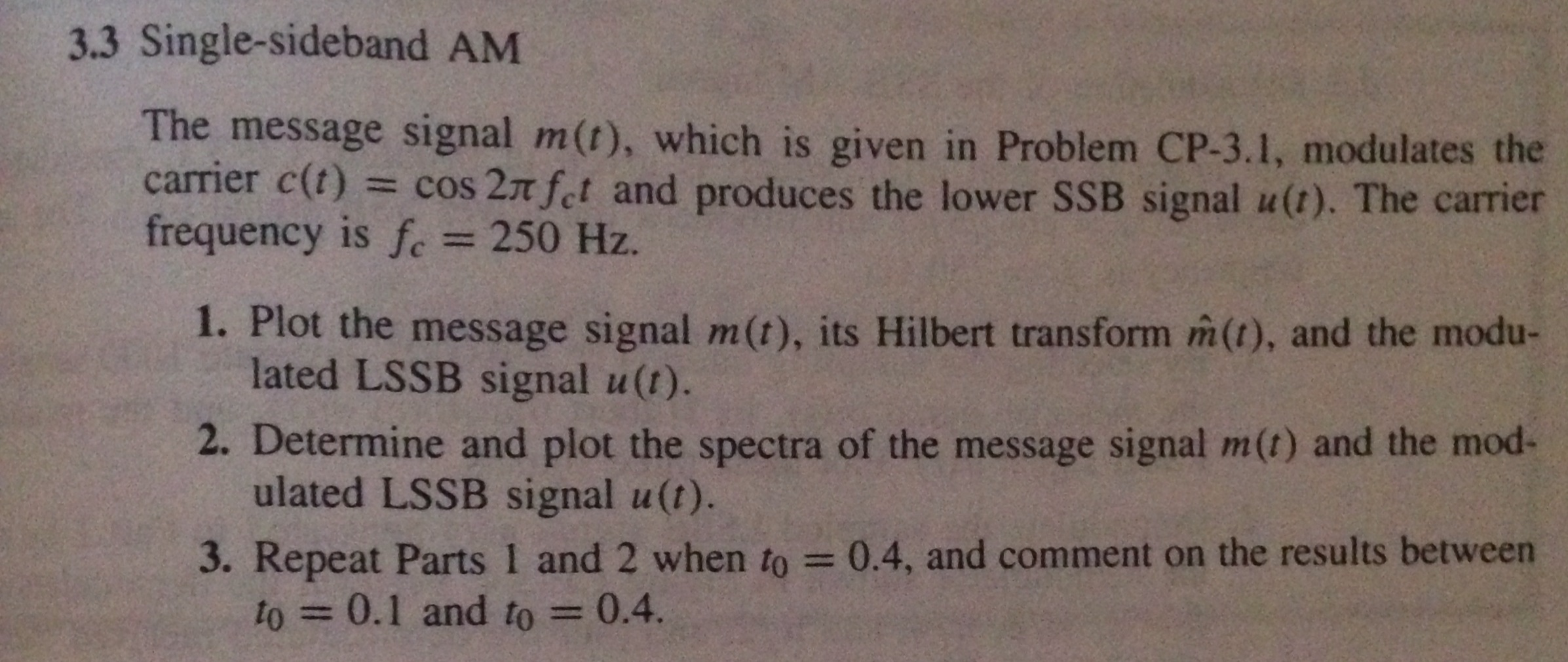 Single-sideband AM The message signal m(t), which