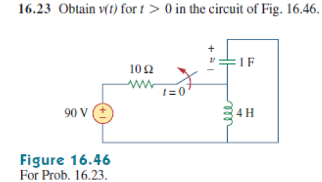 Obtain v(t) for t>0 in the circuit of Fig. 16.46
