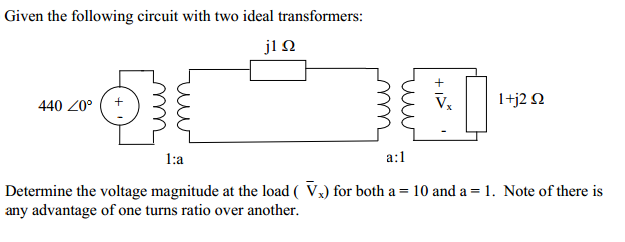 Given the following circuit with two ideal transfo