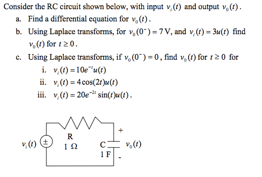 Consider the RC circuit shown below, with input vi