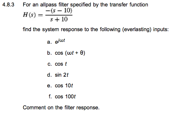 For an all pass filter specified by the transfer f