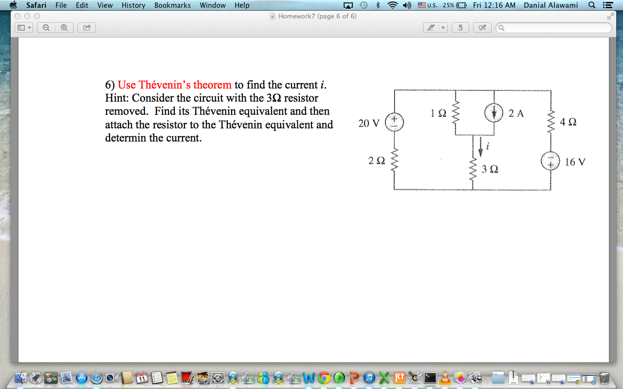 Use Thevenin's theorem to find the current i. Hint
