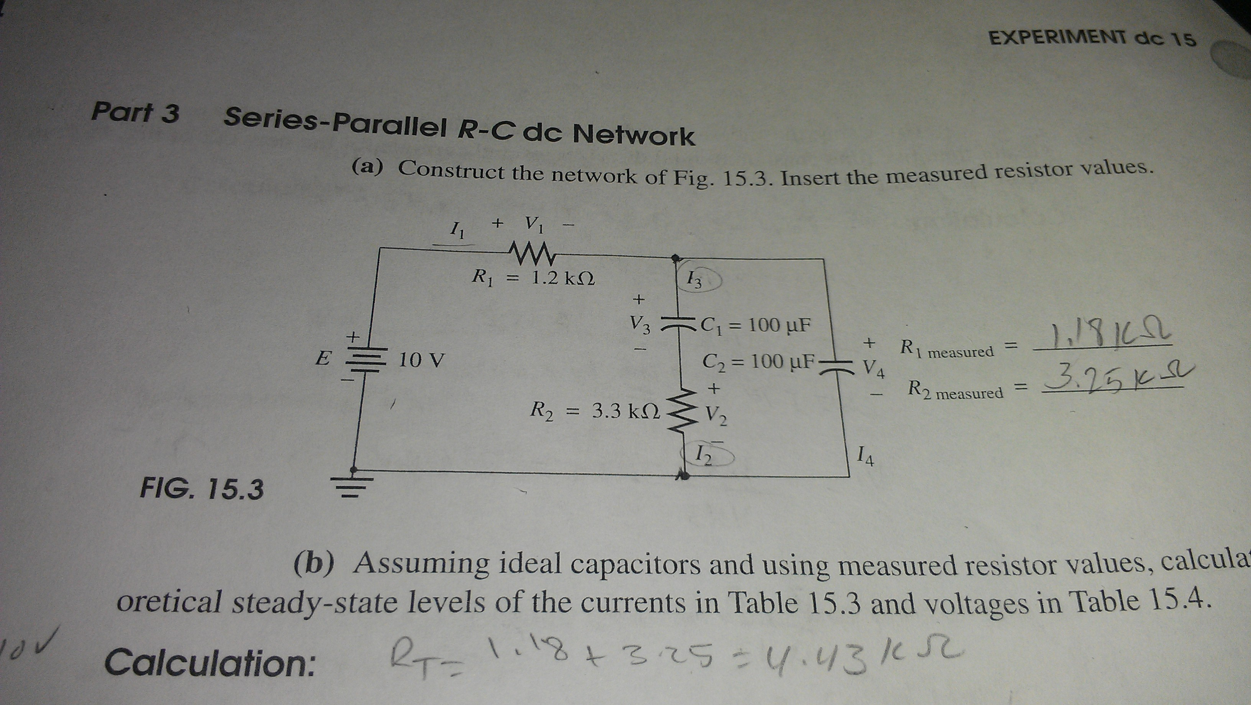 Series-Parallel R-C dc Network Construct the netwo