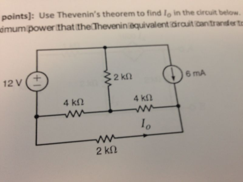 Use Thevenin's theorem to find in the circuit bel