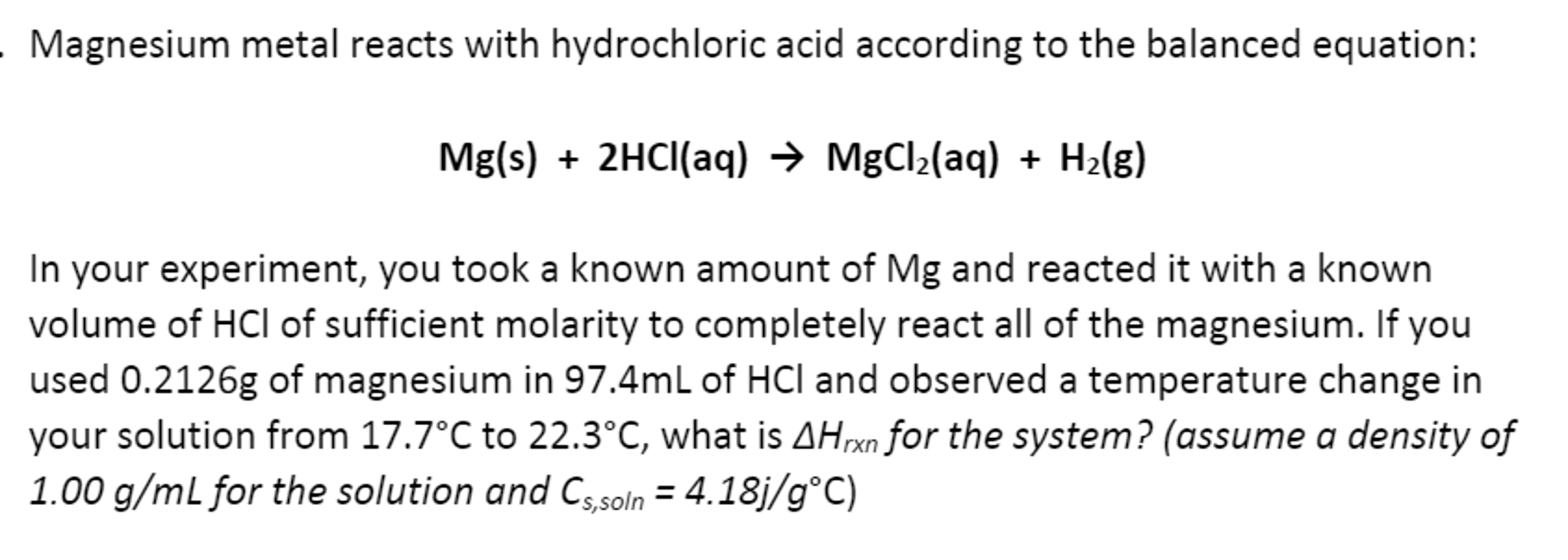 Magnesium Metal Reacts With Hydrochloric Acid Acco