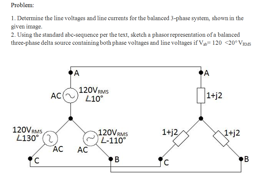 Determine the line voltages and line currents for