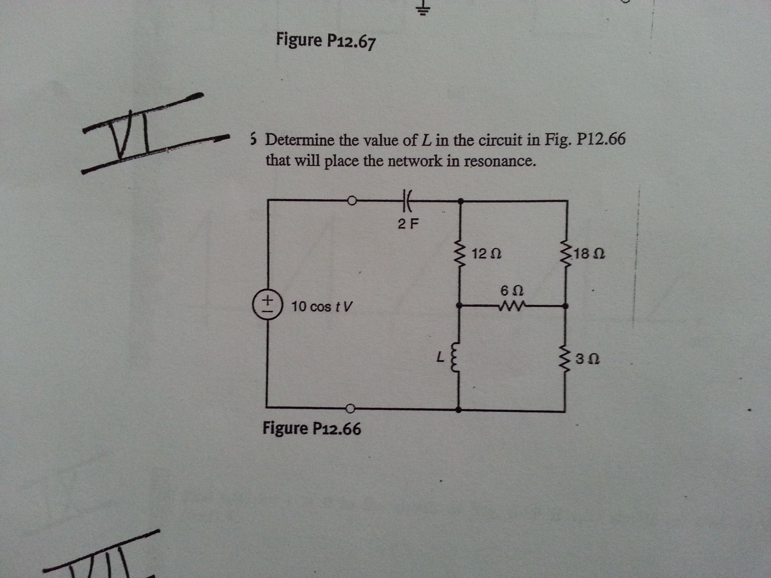 Determine the value of L in the circuit in Fig. P
