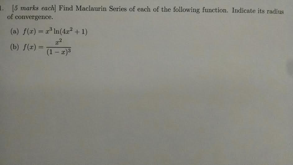 how to find radius of convergence of maclaurin series