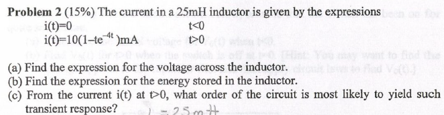 The current in a 25mH inductor is given by the exp