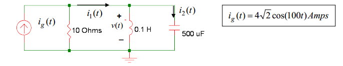 ig (t) = 4 2 cos(100t)Amps