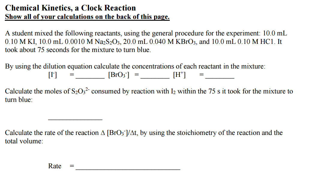chemical kinetics a clock reaction 2015-6-24  chemical kinetics - student research project - chemistry  used to research chemical kinetics  the kinetics of the amazing iodine clock reaction.