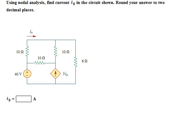Using nodal analysis, find current i0 in the circu