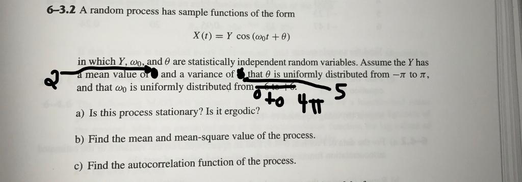 6-3.2 A Random Process Has Sample Functions Of The... | Chegg.com