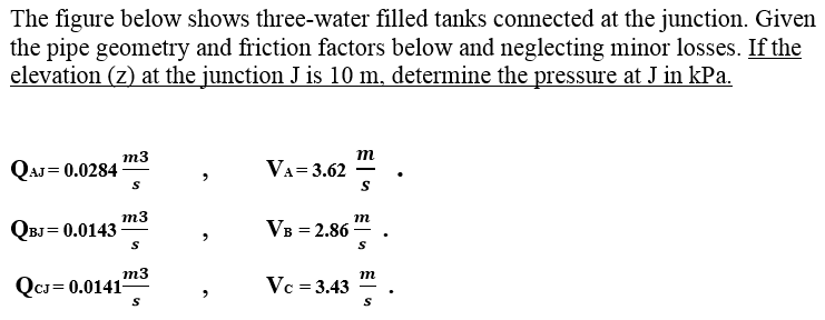 The figure below shows three-water filled tanks co