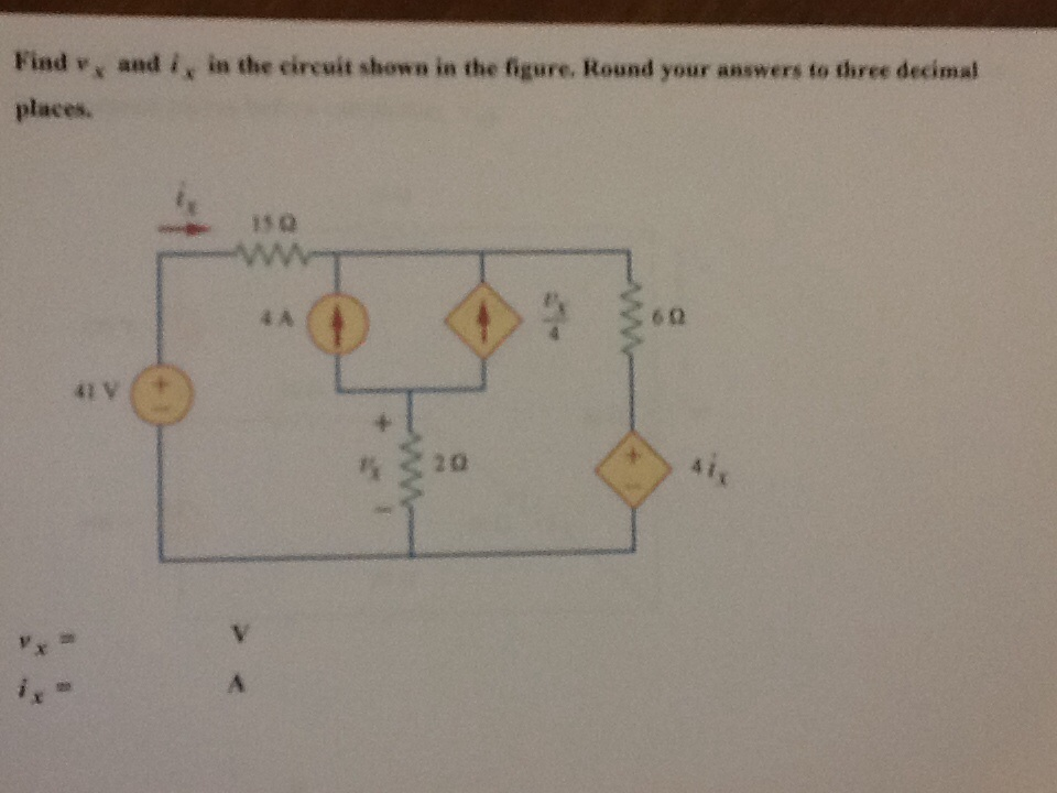 Find v x and i x in the circuit shown in the figur